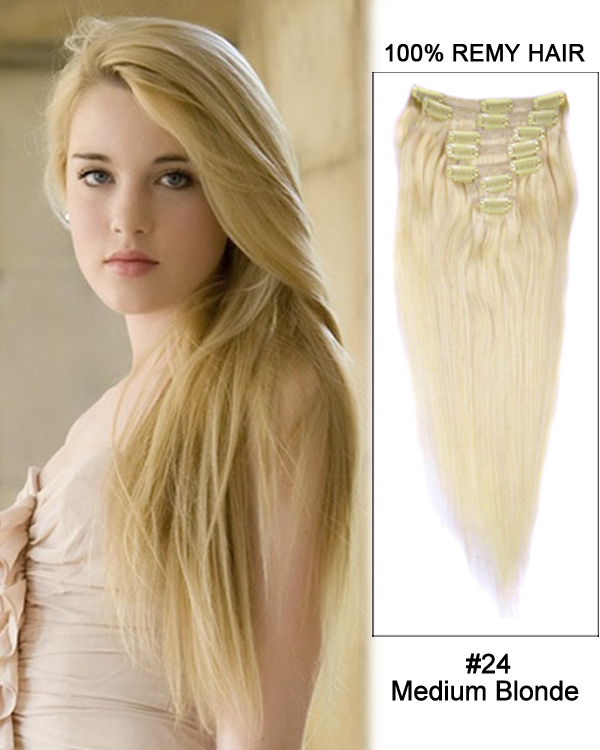 "18"" 7pcs #24 Medium Blonde Straight Remy Hair Clip in Extensions"