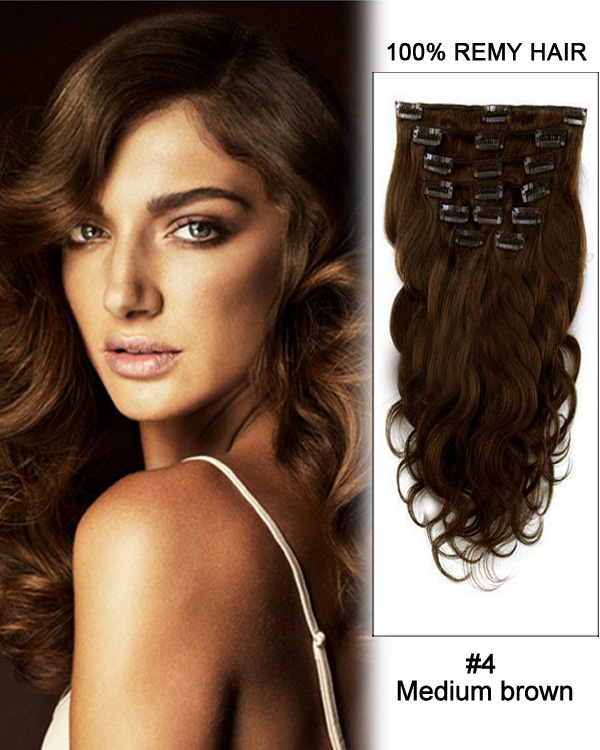 "24"" 11pcs #4 Medium Brown Body Wave Clip in Remy Human Hair Extensions"