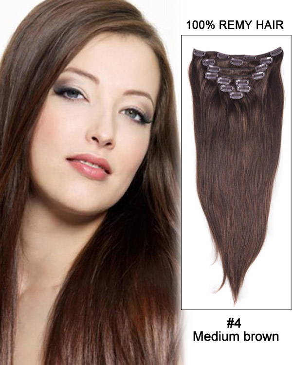 "28"" 9pcs Straight 100% Remy Hair Clip in Extensions #4-Medium Brown"