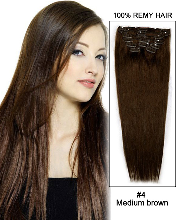 "18"" 11pcs #4 Medium Brown Straight Clip in Remy Human Hair Extensions"