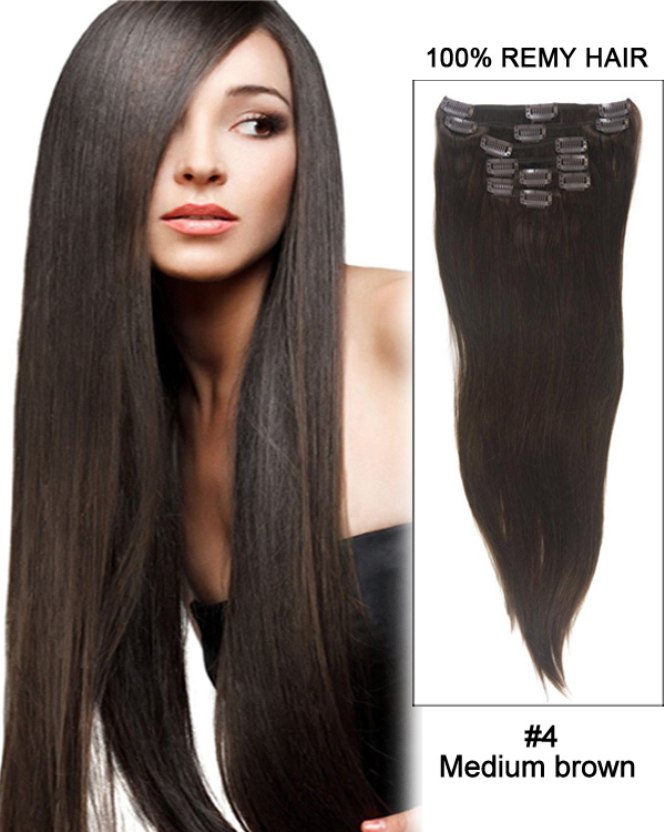 "20"" 7pcs Straight Remy Hair Clip In Hair Extensions #4-Medium Brown"