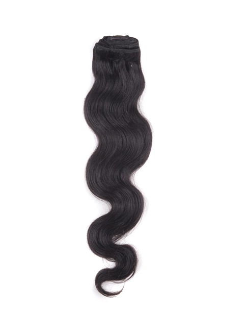 "20"" 9pcs #1B Off Black Body Wave Remy Human Hair Clip in Hair Extensions"