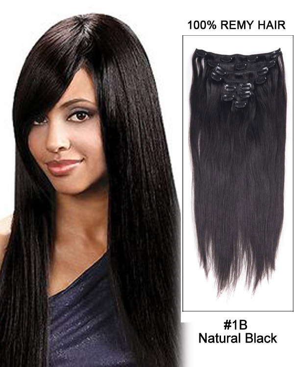 "20"" 9pcs #1B Off Black Straight Remy Hair Clip in Hair Extensions"