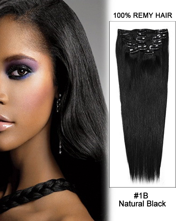 24 11pcs 1b Off Black Staight Clip In Remy Human Hair Extensions