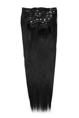 "24"" 11pcs #1B Off Black Staight Clip in Remy Human Hair Extensions"