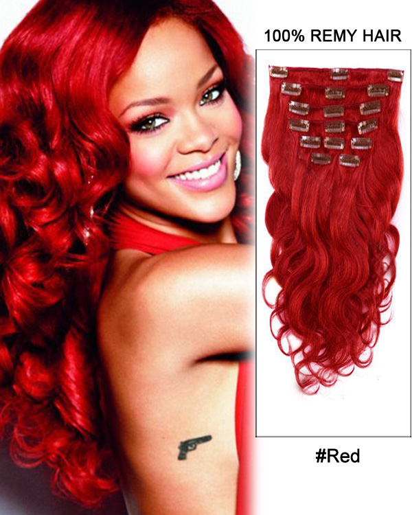 "16"" 7pcs Red Body Wave 100% Remy Hair Clip In Hair Extensions"