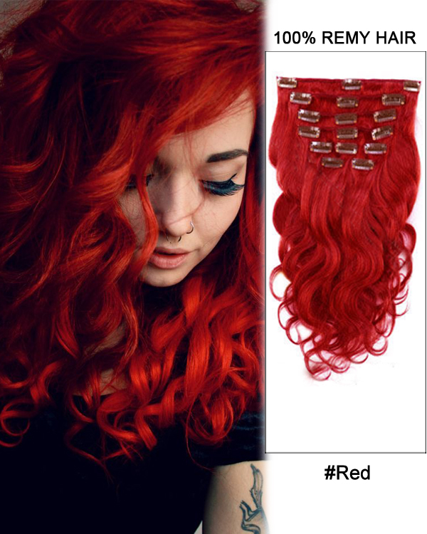 Wavy 14 7pcs red body wave 100 remy hair clip in human hair extensions pmusecretfo Image collections