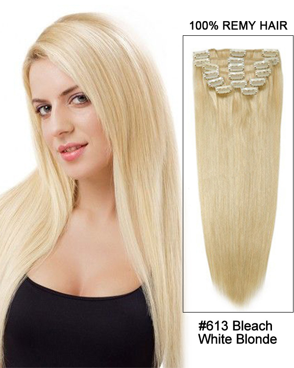 "24"" 11pcs Straight Clip in Remy Human Hair Extensions #613 Bleach White Blonde"