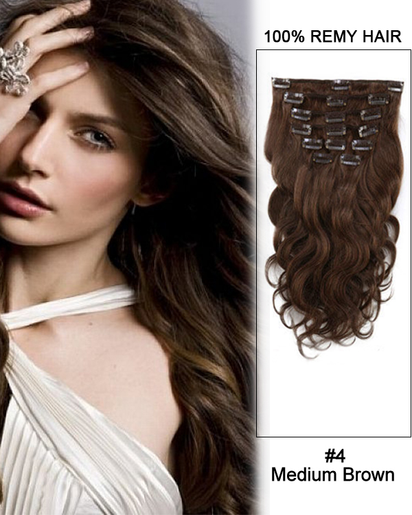 "16"" 7pcs #4 Medium Brown Body Wave 100% Remy Hair Clip In Human Hair Extensions"