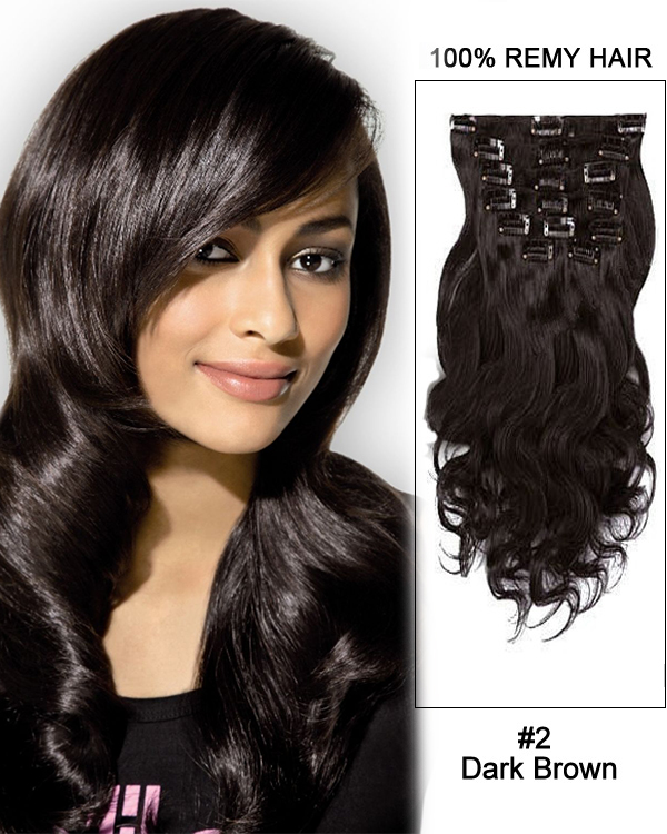 14 11pcs 2 Dark Brown Body Wave Clip In Remy Human Hair Extensions