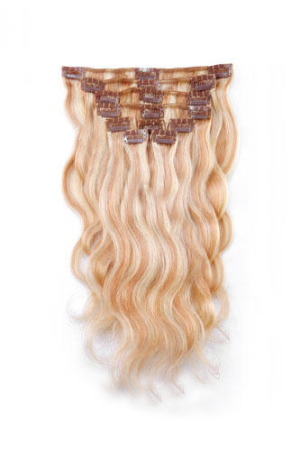 "14"" 7pcs #27/613 Strawberry/Bleach White Blonde Body Wave 100% Remy Hair Clip In Human Hair Extensions"