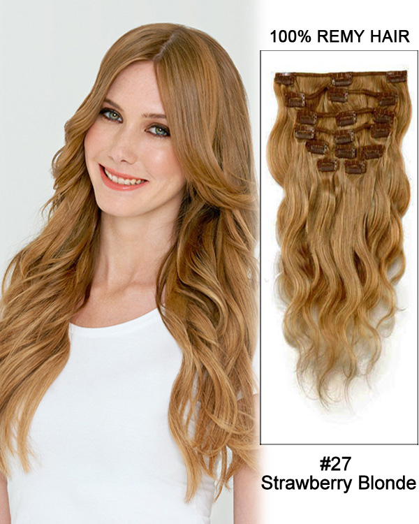 24 11pcs 27 Strawberry Blonde Body Wave Clip In Remy Human Hair