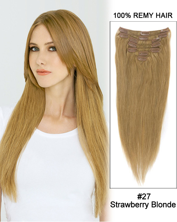 "22"" 7pcs Straight 100% Remy Hair Clip in Hair Extensions #27-Strawberry Blonde"