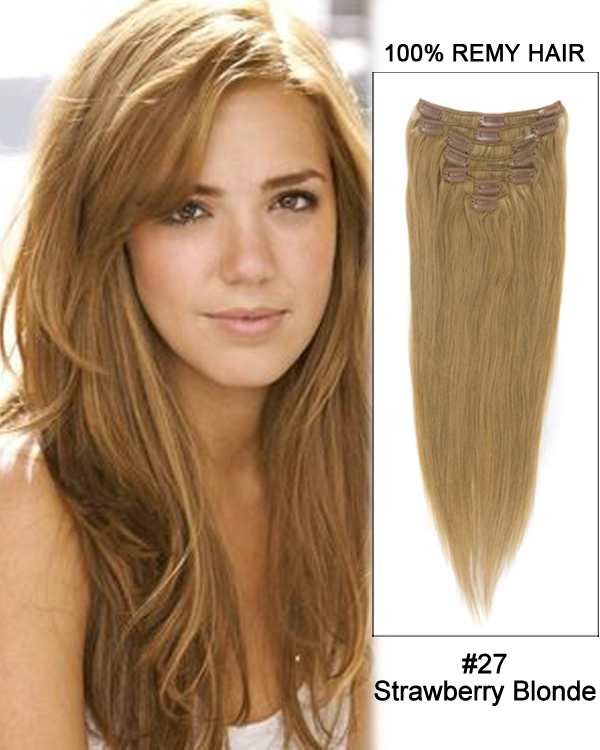 "18"" 7pcs #27 Strawberry Blonde Straight 100% Human Hair Clip In Hair Extensions"