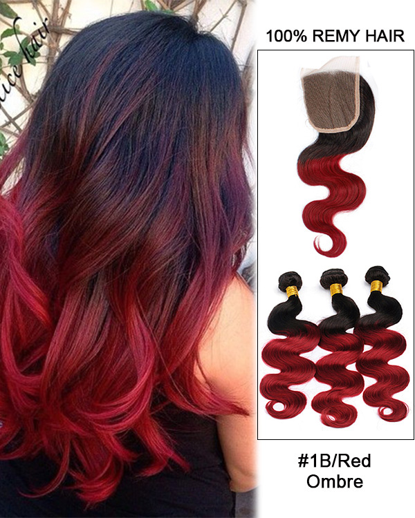 "10""-22"" Free Part Lace Closure With 3 Bundles 1B/Red Black Red Ombre Body Wave Virgin Hair For African American"