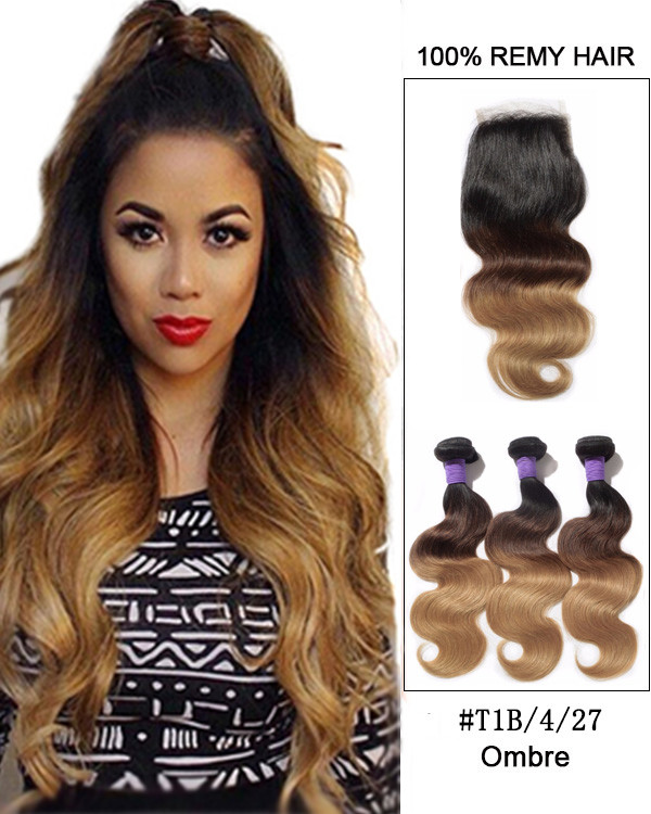 "Free Part 8""-22"" Virgin Brazilian Lace Closure With 3 Bundles 1B/4/27 Ombre Body Wave Virgin Hair For African American"