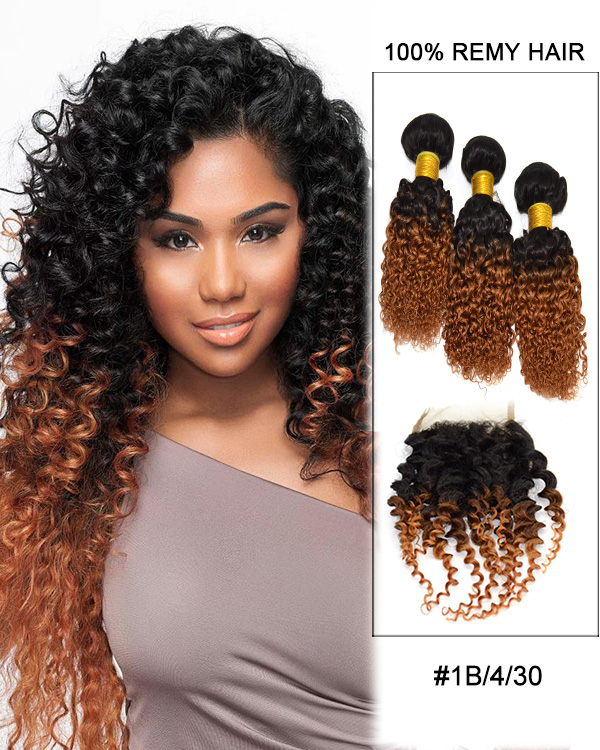 FESHFEN Free Part Lace Closure With 3 Bundles #1B/4/30 Kinky Curly Brazilian Hair Weave Remy Hair Weft Shop By Set