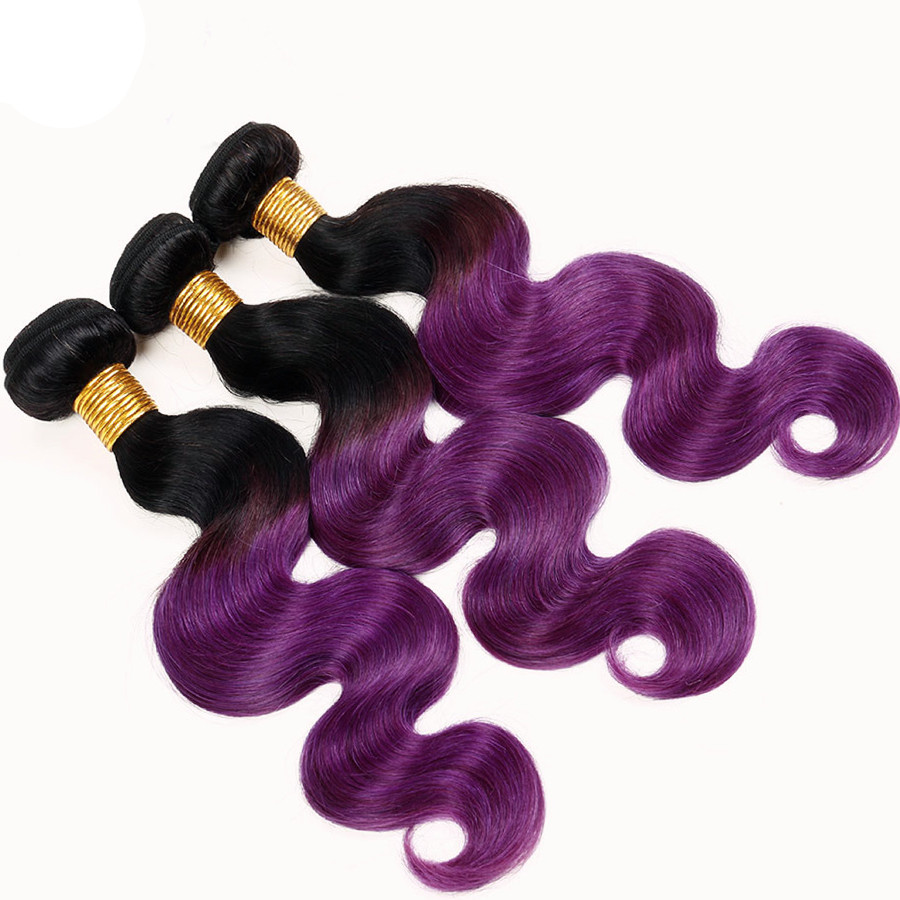 "10""-22"" Free Part Lace Closure With 3 Bundles 1B/Purple Black Purple Ombre Body Wave Virgin Hair For African American"