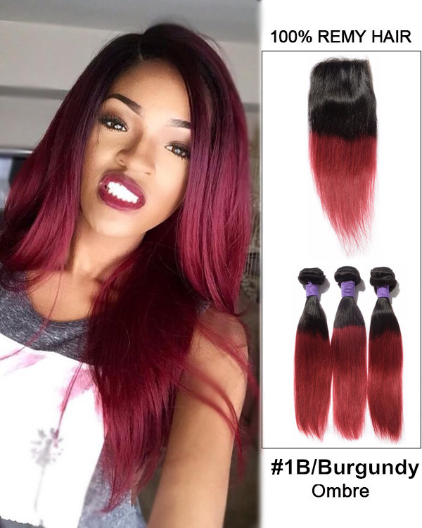 "New Arrival 10""-22"" Black Burgundy Ombre Straight Free Part Lace Closure With 3 Bundles #1B/Burgundy Virgin Hair For African American"