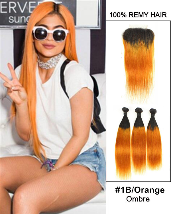 "New Arrival 10""-22"" Black Orange Ombre Straight Free Part Lace Closure With 3 Bundles #1B/Orange Remy Hair For African American"