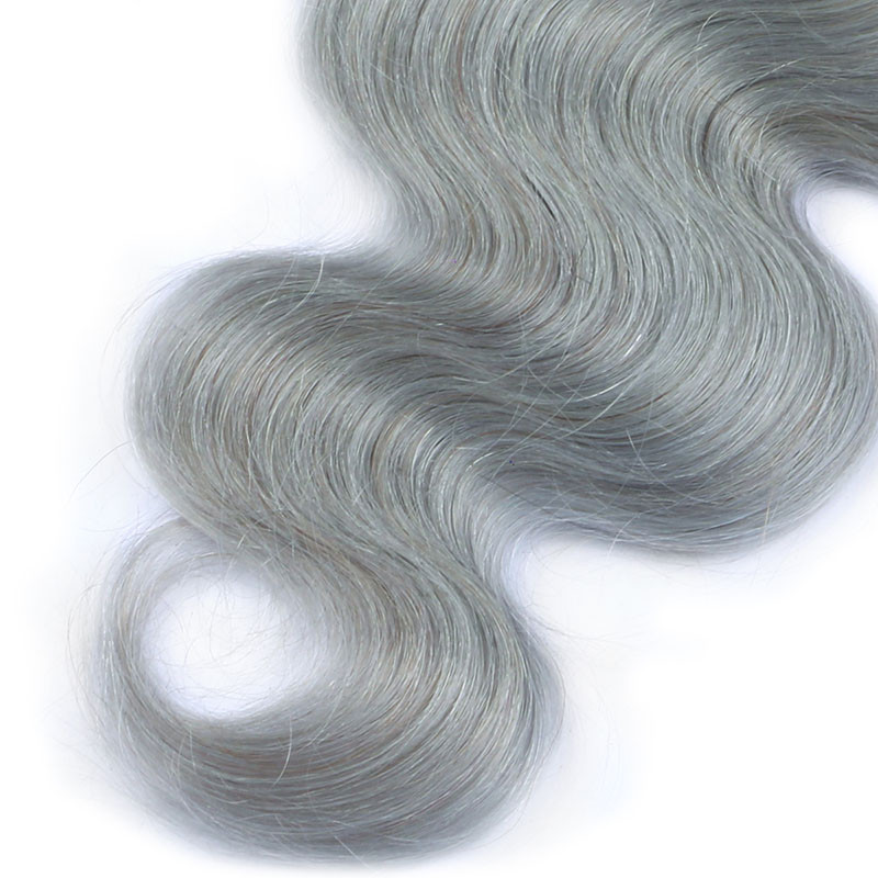 "14"" Free Part #1B/Grey Ombre Body Wave Lace Closure Remy Brazilian Hair Black Grey Ombre Lace Frontal For Women"