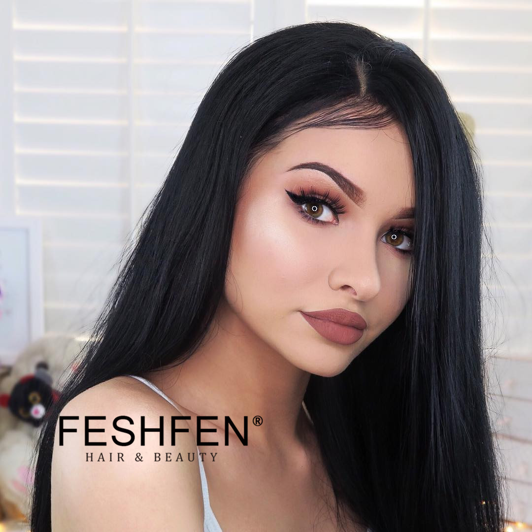 "FESHFEN 2019 Limited Time 80% OFF Sale Natural Black Silky Straight 16"" - 26"" Human Hair Bundles Natural Black Straight Virgin Hair Weave"