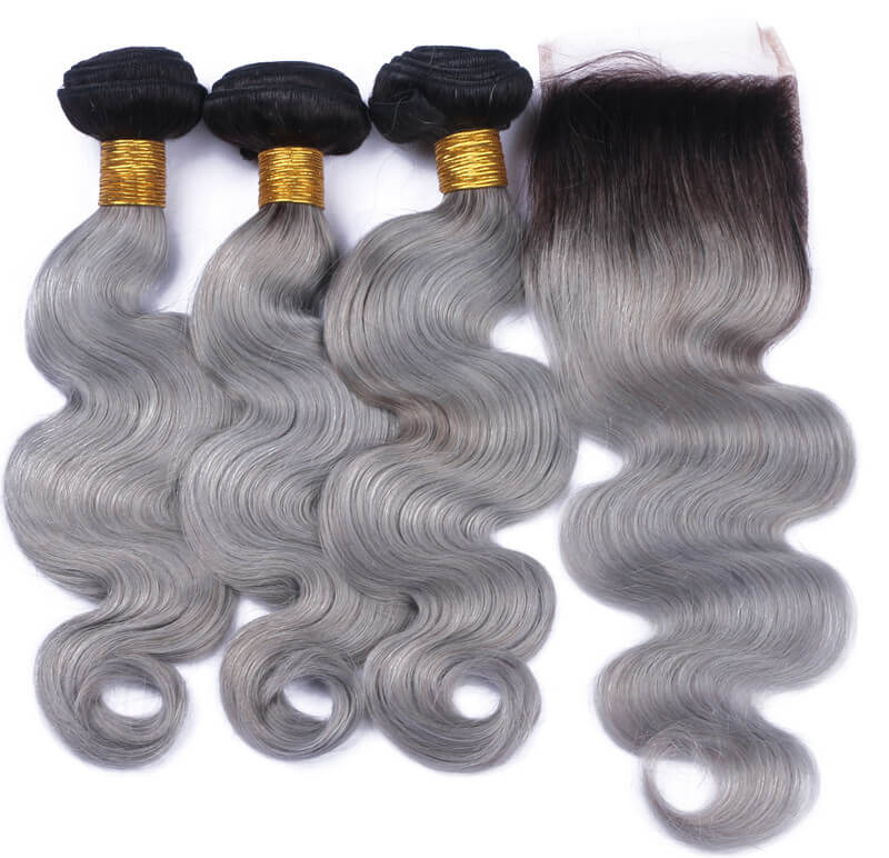 10 20 Free Part Lace Closure With 3 Bundles Black To Sliver Grey
