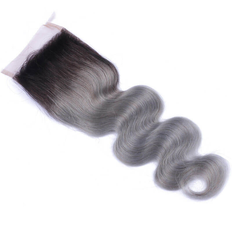 "10""-20"" Free Part Lace Closure With 3 Bundles Black To Sliver Grey Ombre Body Wave #1B/Grey Human Hair Weave"