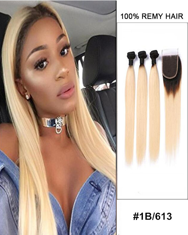 "10""-22"" Free Part Lace Closure With 3 Bundles 1B//613 Ombre Straight Virgin Hair For Women"
