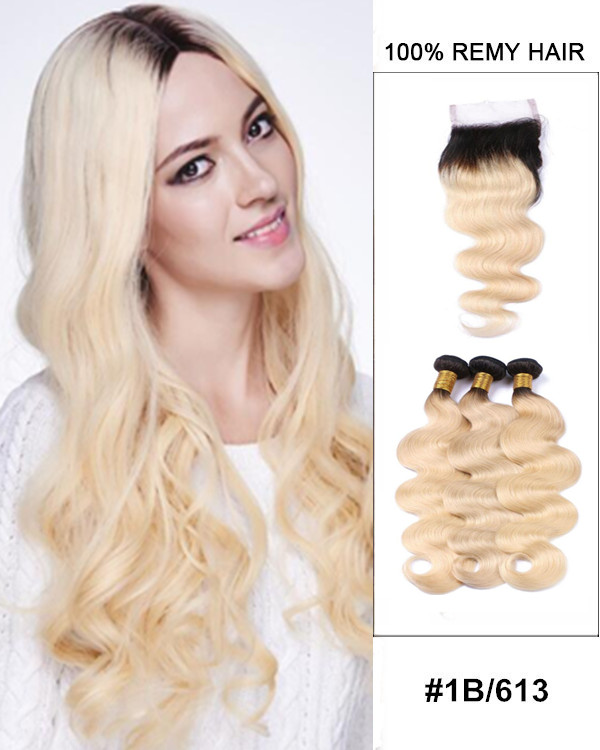 "10""-22"" Free Part Lace Closure With 3 Bundles 1B//613 Ombre Body Wave Virgin Hair For Women"