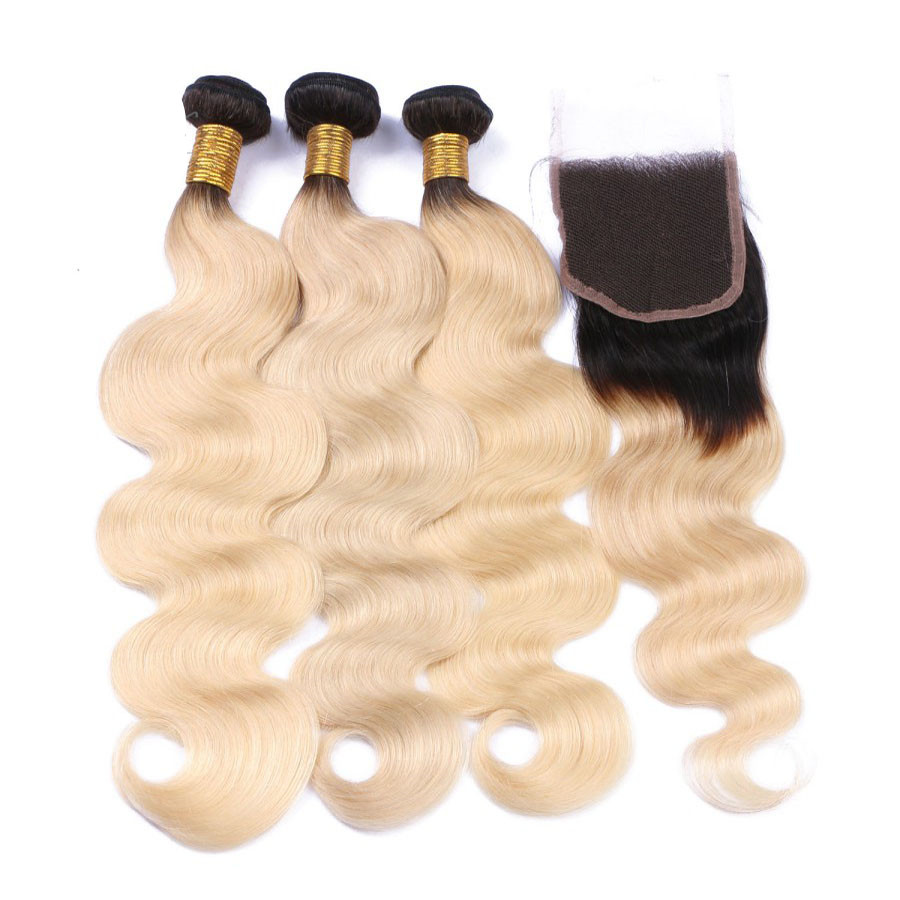 10 22 Free Part Lace Closure With 3 Bundles 1b 613 Ombre