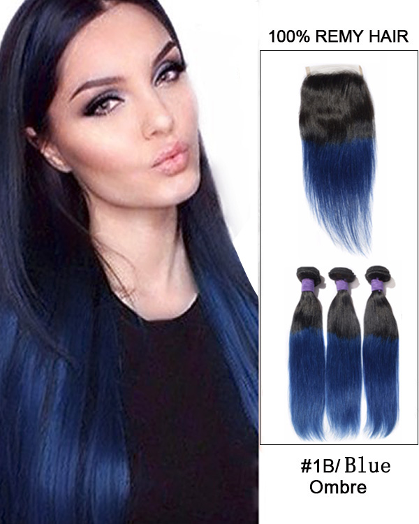 "New Arrival 10""-22"" Black Blue Ombre Straight Free Part Lace Closure With 3 Bundles #1B/Blue Virgin Hair For African American"