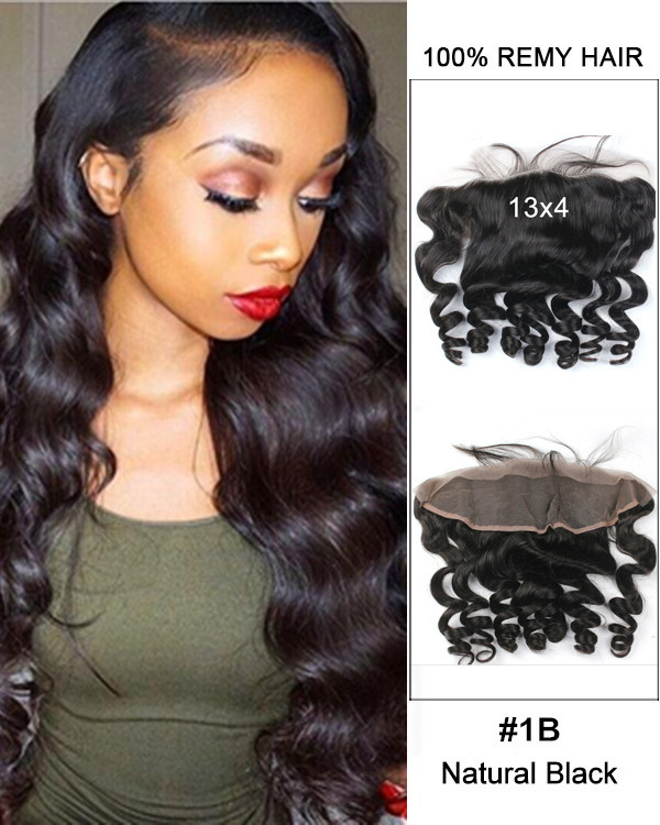 13*4 Free Part Lace Closure Natural Black Loose Wave Virgin Brazilian Hair For African American