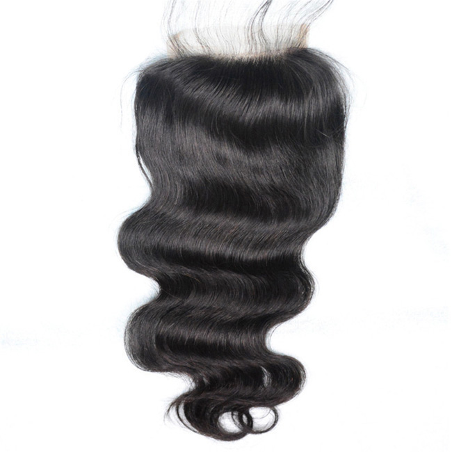 "14"" Free Part Lace Closure Natural Black Body Wave Virgin Indian Hair For African American"