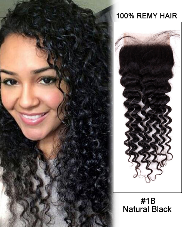 "14"" Free Part Lace Closure Natural Black Curly Wave Virgin Peruvian Hair For African American"
