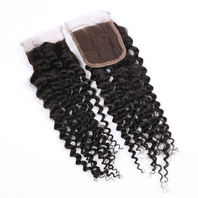 "14"" Free Part Lace Closure Natural Black Curly Wave Virgin Indian Hair For African American"