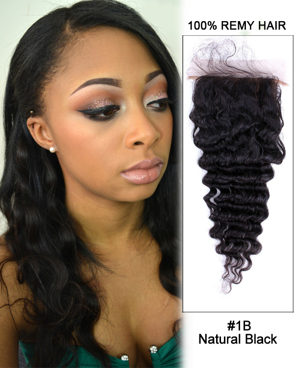 "14"" Free Part Lace Closure Natural Black Deep Wave Virgin Brazilian Hair For African American"