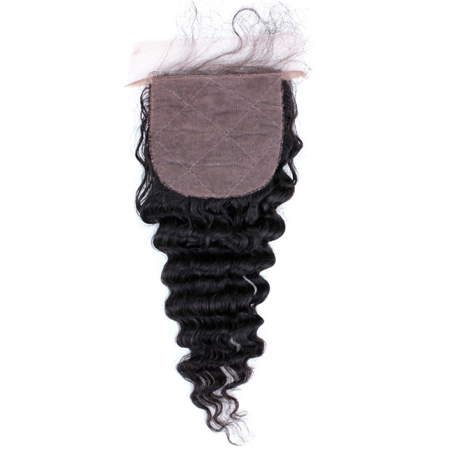 "14"" Free Part Lace Closure Natural Black Deep Wave Virgin Indian Hair For African American"