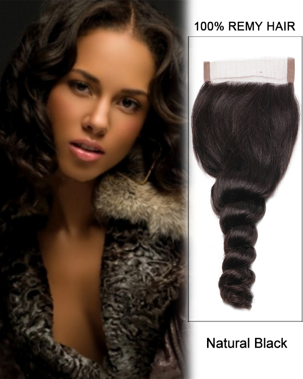 "14"" Free Part Lace Closure Natural Black Loose Wave Virgin Brazilian Hair For African American"