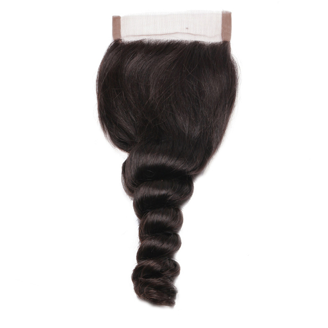 "14"" Free Part Lace Closure Natural Black Loose Wave Virgin Indian Hair For African American"