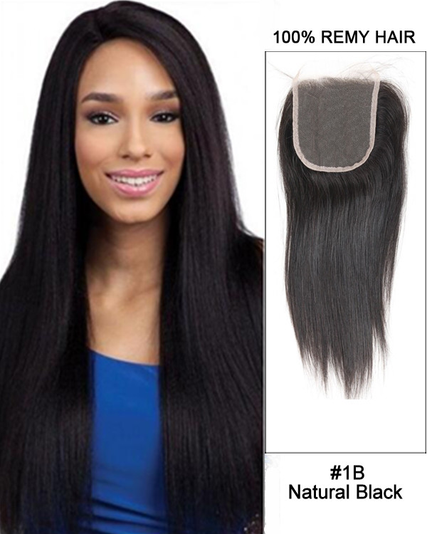 "14"" Free Part Lace Closure Natural Black Straight Virgin Brazilian Hair For African American"