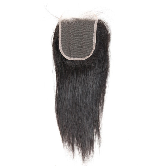 "14"" Free Part Lace Closure Natural Black Straight Virgin Indian Hair For African American"