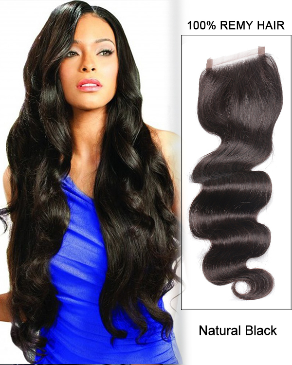 "14"" Free Part Lace Closure Natural Black Wavy Virgin Brazilian Hair For African American"