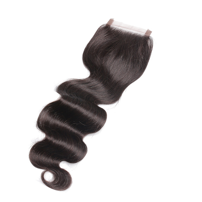 "14"" Free Part Lace Closure Natural Black Wavy Virgin Indian Hair For African American"