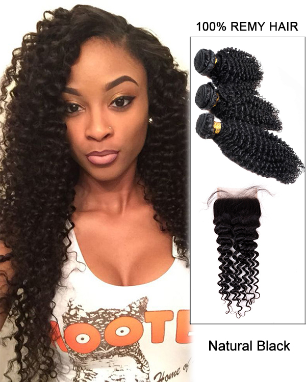 Free Part Lace Closure With 3 Bundles Natural Black Curly Wave Virgin Hair Lace Closure For African American