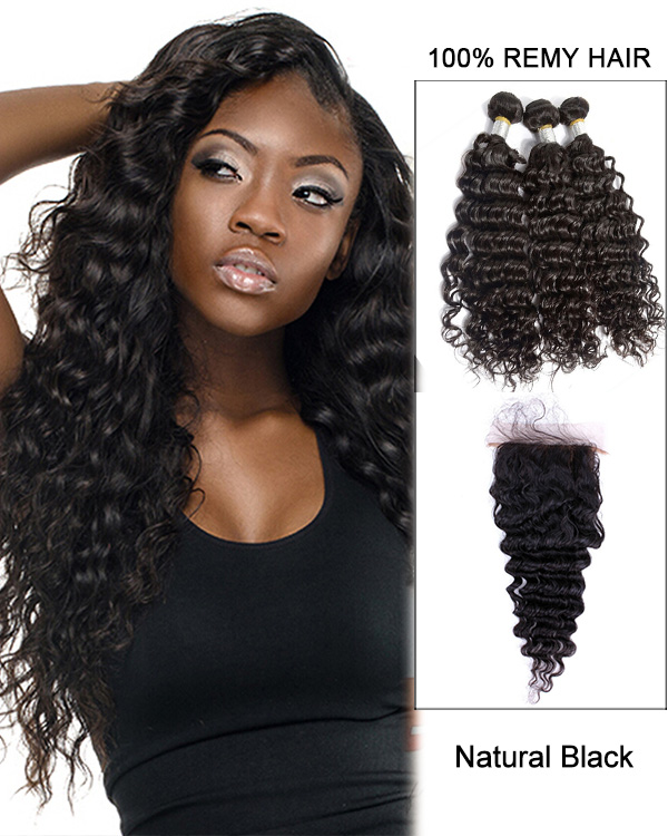 7A Virgin Hair Natural Black Deep Wave Lace Closure With 3 Hair Bundles