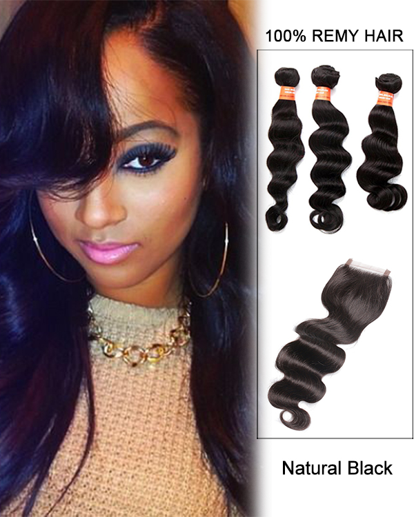7A Virgin Hair Natural Black Big Wave Lace Closure With 3 Hair Bundles