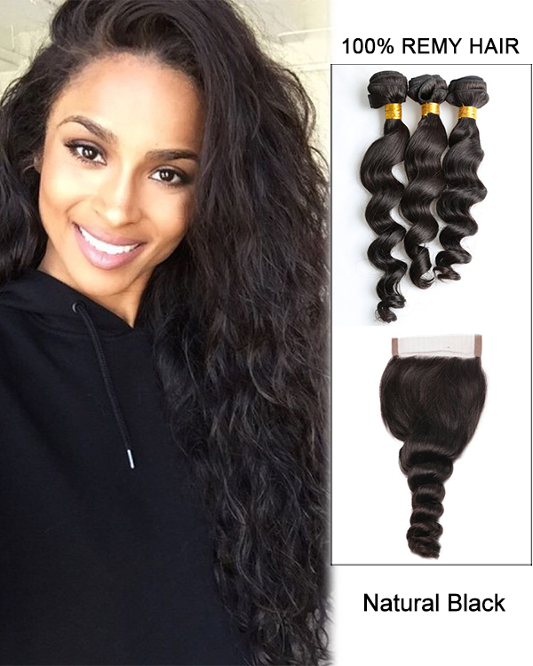 7A Virgin Hair Natural Black Loose Wave Lace Closure With 3 Hair Bundles