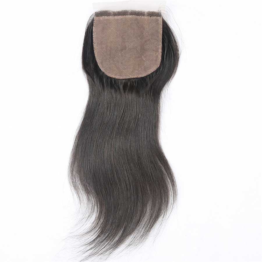 Free Part Lace Closure With 3 Bundles Natural Black Straight Virgin Hair Lace Closure For African American