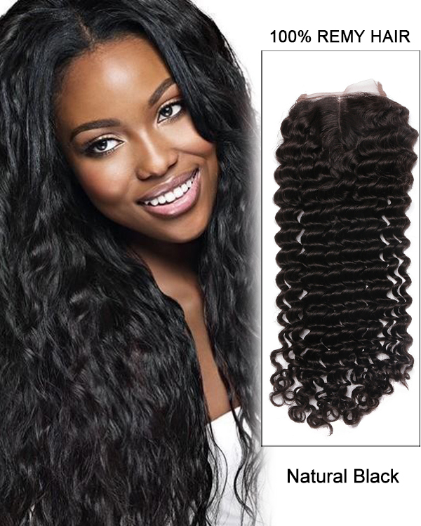 "14"" Middle Part Lace Closure Natural Black Deep Wave Virgin Brazilian Hair For African American"